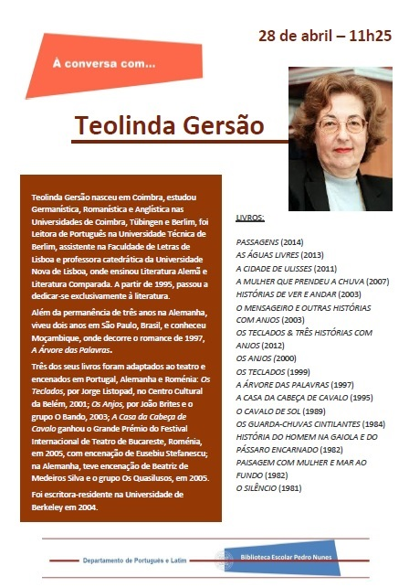 Cartaz 28 Abril - À conversa com Teolinda Gersão