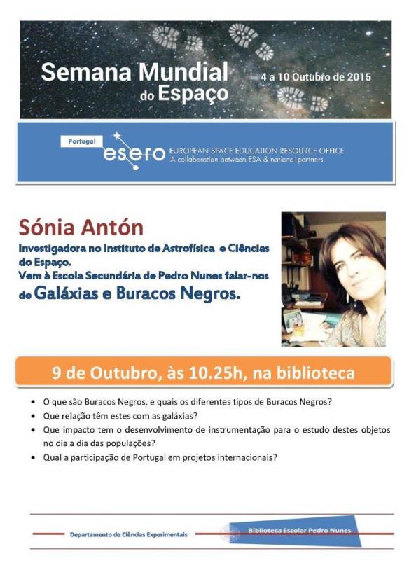 Cartaz de Sónia Antón_palestra Buracos negros-jpg
