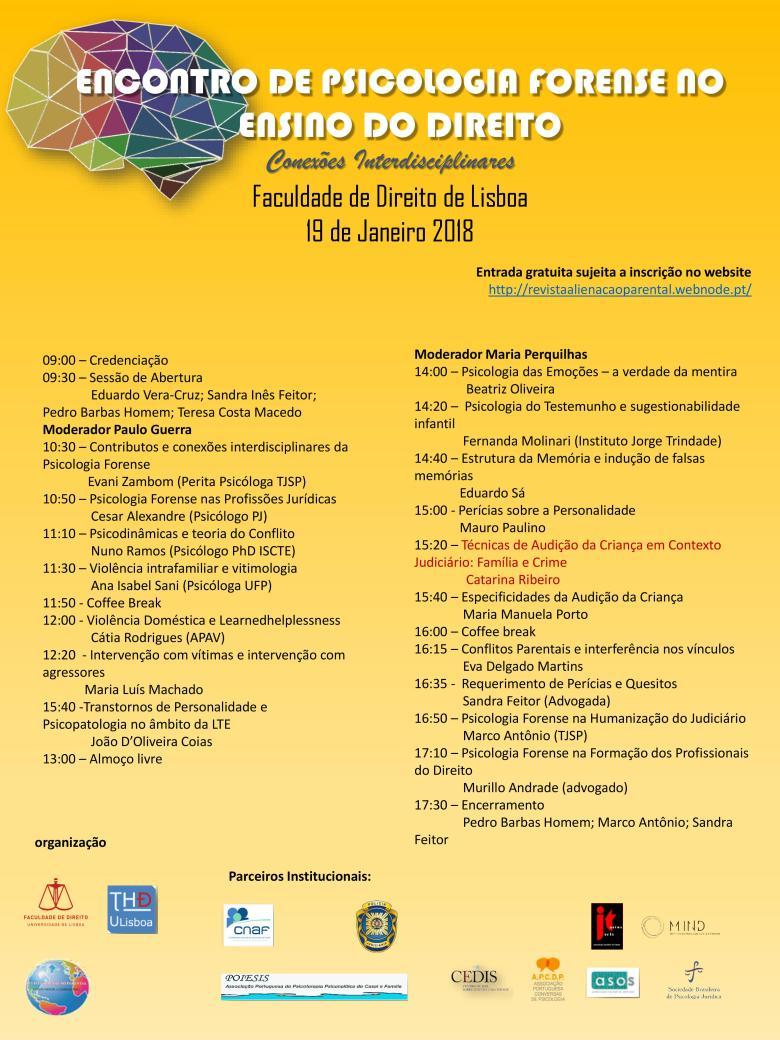 PROGRAMA - CARTAZ I ENCONTRO DE PSICOLOGIA FORENSE